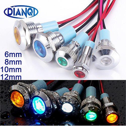 6mm 8mm 10mm 12mm Metal LED Warning indicator light Waterproof IP67 Signal Lamp Pilot Wires switch 3V 5V 12V 220V Red Blue