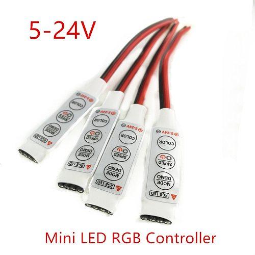 DC 5V-12V-24V 12A 3Keys Mini LED RGB Controller Dimmer Driver For RGB 5050/3528/2835/5730/5630/3014 SMD LED Strip Lights