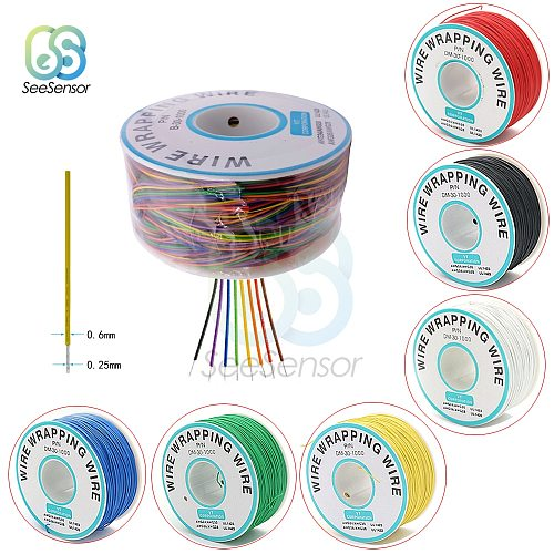 280m 30AWG Flexible Wrapping Wire Cable 0.56mm Electrical Wire Wrapping Wire Electrical Wire Copper Line DIY