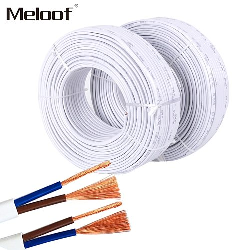 10m power cord / 2 core / flat sheathed cable 2X0.75 mm2 square / pure copper wire Pins Copper Wire Conductor Electric RVV Cable