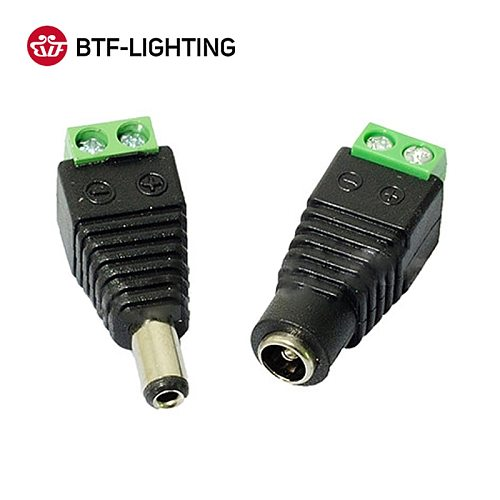 Female Male DC Connector 5.5x2.1mm Power Jack Adapter Plug for 3528 5050 5730 5630 3014 Single Color Led Strip light CCTV Camera