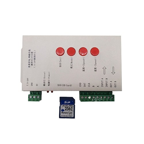 DC5~24V RGB Led Controller T1000S SD Card Pixels Controller For WS2801 WS2811 WS2812B LPD6803 Strip 2048 Pixels