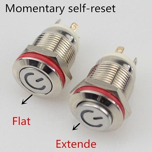 3V 5V 9V 12V 24V 220V Momentary Latching push button switch locked 12mm flat head fixed Push Button waterproof LED metal switch