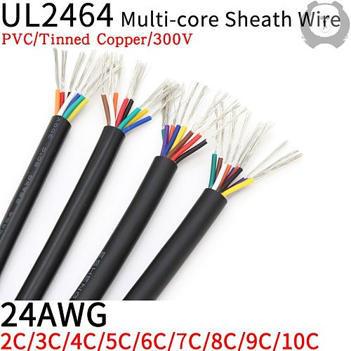 1M 24AWG UL2464 Sheathed Wire Cable Channel Audio Line 2 3 4 5 6 7 8 9 10 Cores Insulated Soft Copper Cable Signal Control Wire