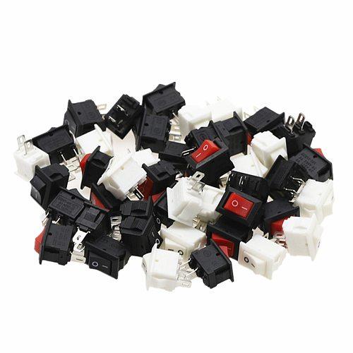 15pcs Mini Rocker Switch SPST Black and Red Snap in Switches Button AC 250V 3A / 125V 6A 2 Pin I/O 10*15mm On-off Switch Rocker