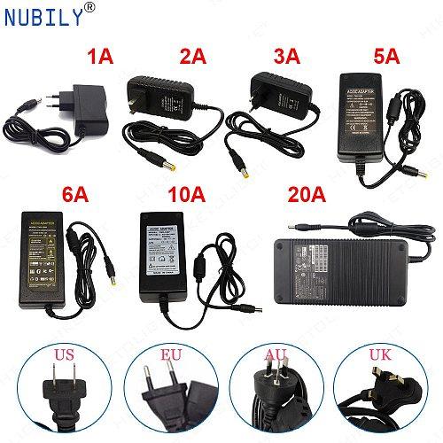 LED Power Supply 12V DC Adapter Power AC110V/220V Lighting Transformer 1A 2A 3A 5A 10A 20A For CCTV Camera LED Strip EU US plug