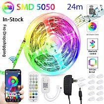 2021 New APP Bluetooth Led Strip Lights 24M RGB 5050 SMD Flexible Ribbon Lamp 3M 6M 12M 18M Tape Diode DC 12V Control For Room