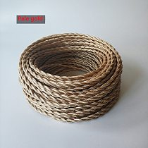 Pale gold 2/5 Meters 2 Core Electrical Rope Wire Vintage Antique Braided Twisted Fabric Lighting Cable Woven Silk Flexible Cord