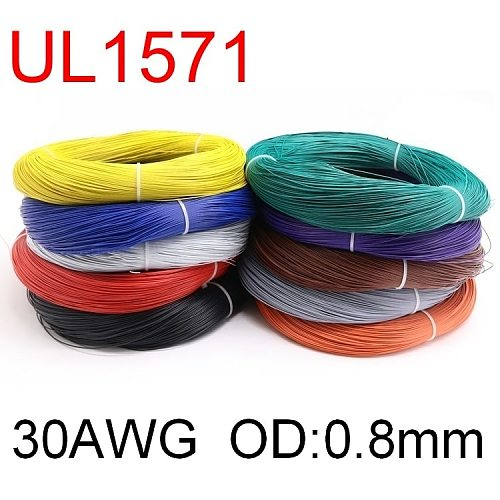 5M UL1571 30AWG PVC Electronic Wire OD 0.8mm Flexible Cable Insulated Tin-plated Copper Environmental LED Line DIY Cord Colorful