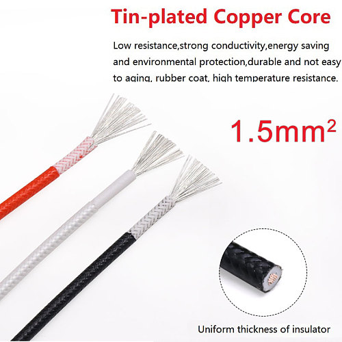 Fiber Braided Silicone Rubber Wire Square 1.5mm Insulated Electric Heating Hotline Cable  Copper High Temperature Carbon Warm