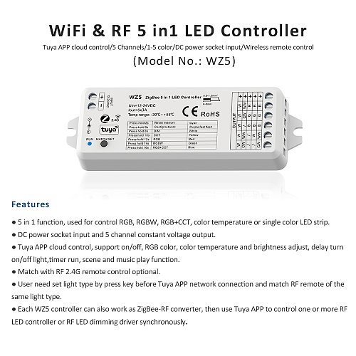 MJJC Tuya Zigbee LED Controller DC 12V 24V 15A 5 in 1 RGB CCT RGBW RGBCCT LED Strip Light Controller RF 2.4G Wifi Smart Home WZ5