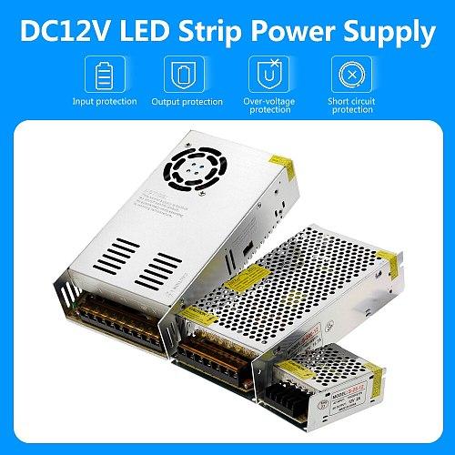 Lighting Transformers AC110V 220V to DC12V Power Supply Adapter 1A 3A 5A 8A 10A 15A 20A 25A 30A 40A 50A LED Strip Switch Driver.