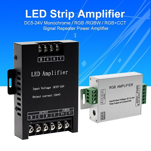 LED RGBW / RGB Amplifier DC5 - 24V 24A 30A Output for RGBCCT / RGBW / RGB LED Strip Power Repeater Console Controller
