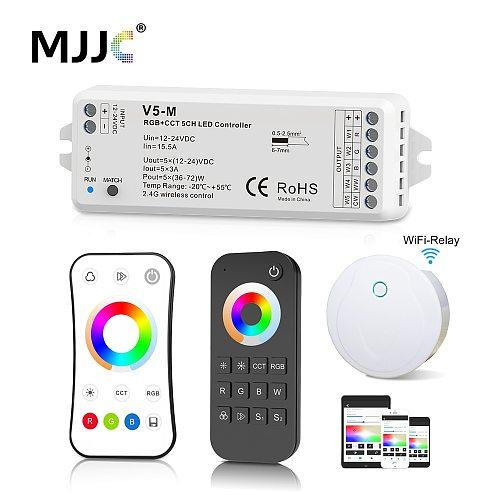 RGB RGBW CCT RGBCCT Controller 12V 24V 5 IN 1 RGBWW LED Strip Light Controller Wifi RF Wireless 2.4G Touch Remote Control