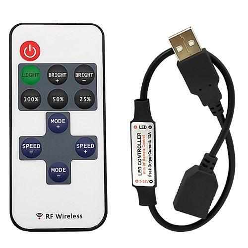 11 Keys LED Strip Controller Mini Dimmer RF Remote 5V USB interface Controller For 5050/2835 Single Color LED strip