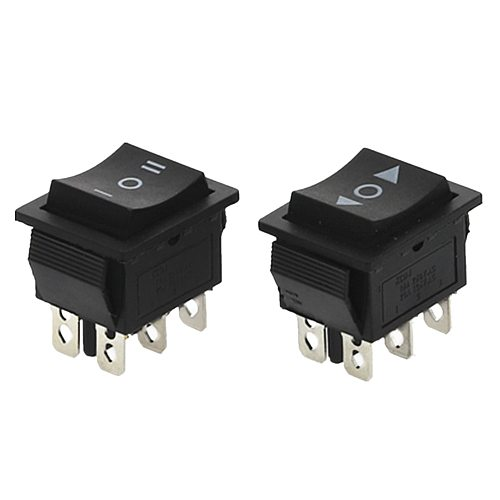 1PCS KCD4 Black Rocker Switch Power Switch ON-OFF-ON 3 Position 6 Pins The arrow is reset 16A 250VAC/ 20A 125VAC