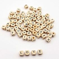 100pcs/lot Square Alphabet Number DIY Beads Wooden 10mm Baby Smooth Teether For Jewelry Making Accessories RANDOM Letters