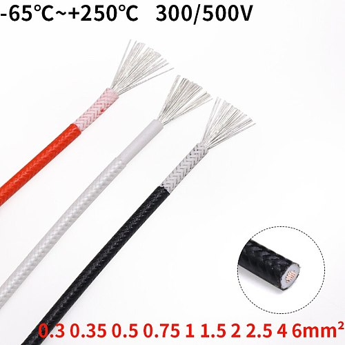Sq 0.3 0.5 0.75 1 2 4 6mm Fiber Braided Silicone Rubber Wire Insulated Heat-resistant cable Copper High Temperature Carbon Warm