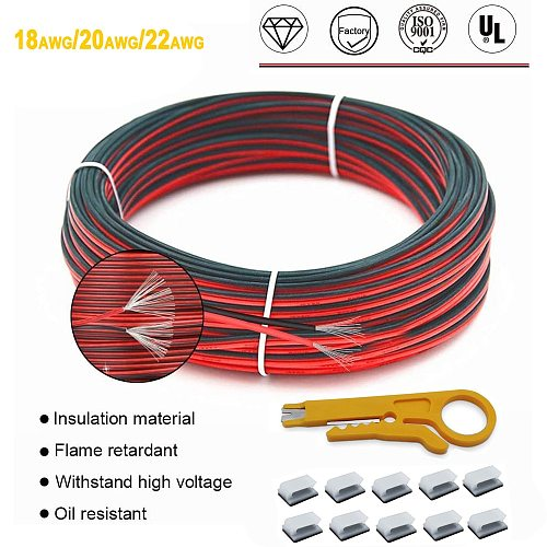 20 Meters LED Cable 22/20/18 AWG Tinned Copper Electric Wire 2 Pin Red Black Insulated PVC Strong Flame-Retardant Extension Cord