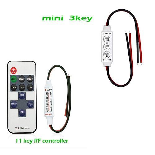 SZRZ LED Strip Controller Mini Dimmer RF Remote DC 5V 12V 24V Controller For LED 5050 5630 2835 Strip Single Color