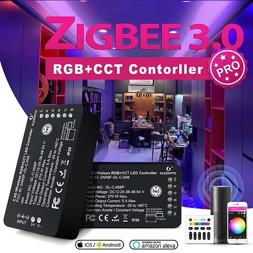 GLEDOPTO Zigbee 3.0 Smart LED Strip Controller RGBCCT Pro Compatible with Hue SmartThings App 2.4G RF Remote Control Voice