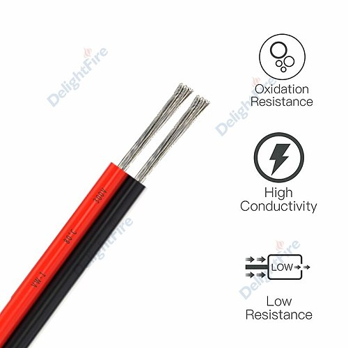 UL2468 2 Pin Electrical Wires 18/20/22AWG Tinned Copper Wire Red Black Cable For LED Strip Solar Panel Flexible Electronic DIY