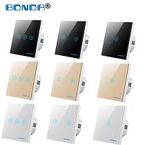 BONDA Wall Touch Switch EU/UK Standard 1 Way Wall Power Sensor Light Switch 4colors Crystal Glass Panel Led Backlight Smart Home