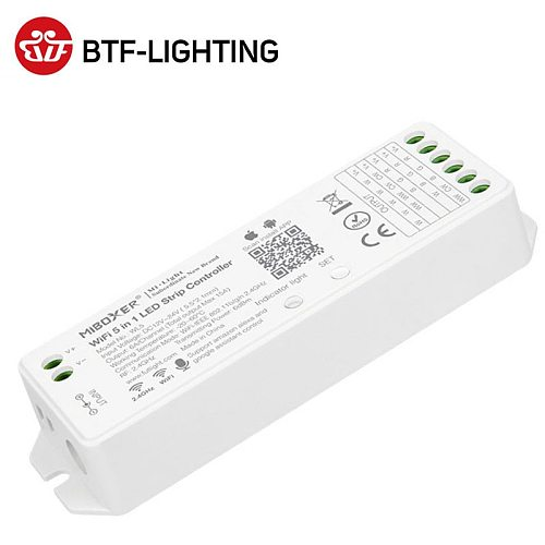 DC12-24V Wifi 5 IN 1 Smart LED Strip Light Controller Alexa SPI Voic 2.4GHz RGB RGBW CCT Controller IOS Android APP 15A 360W