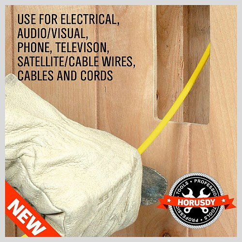 Fiberglass Wire Cable Running Rods Fish Pulling Wire Holder Kit Electrical Wires With Hooks 3/16   x 11' Electrical Cord