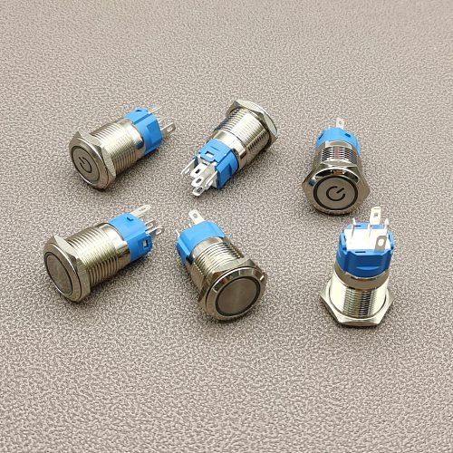 16mm metal push button switch ring lamp power symbol button Waterproof  LED light self-lock self-reset button 1NO1NC