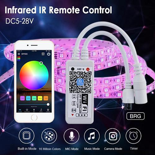 1PCS Wifi RGB Controller DC 5-28V Mini 24Keys Alexa Music Controller Light Strip Controller For RGB LED Strip