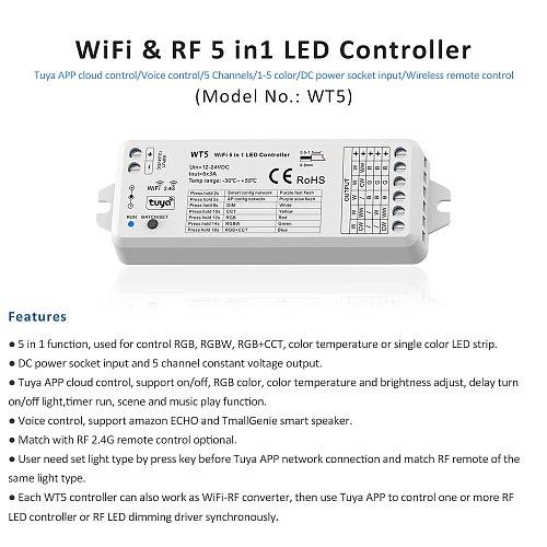 LED RGBCCT Controller 12V 24V DC 5 in 1 Dimmer RGB CCT RGBW RGBWW Strip Tuya Smart Wifi Voice Cloudy 2.4G RF Remote Control WT5