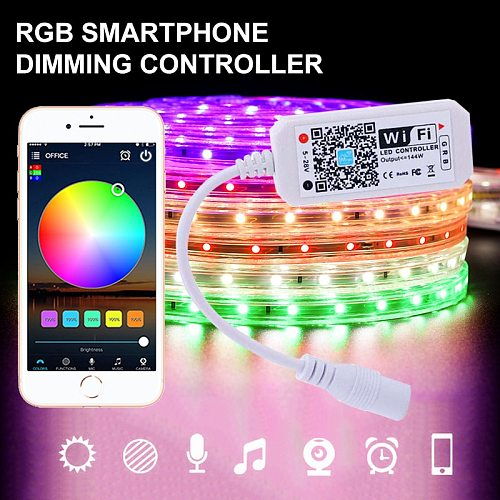 Smart WiFi Controller LED Strip Rgb Led Controller Wireless Remote Control Music Voice Control RGB color change WiFi Controller