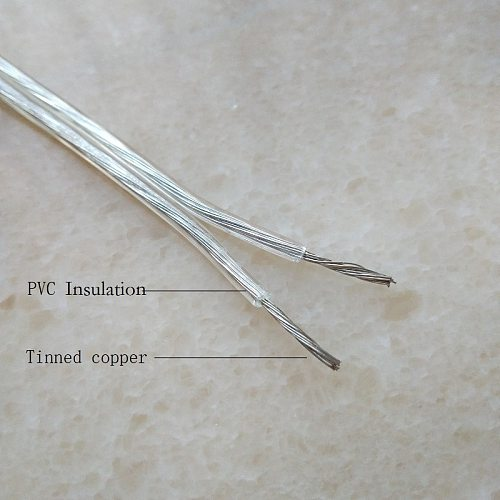 transparent 2*0.5mm 2pin parallel electric wire cable for Lighting lamp electrical wire pendant lighting power cable