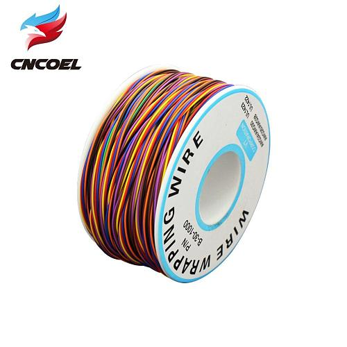 1 Roll Wrapping Wire 30AWG 0.25mm Tin Plated Copper Wire Wrapping Insulation Test Cable 8-Colored Circuit Board Fly Line