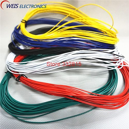 10meters UL1007 # 24 24AWG PVC electronic line cable copper wire 300V 11/0.12TS RED GREEN BLUE WHITE BLACK YELLOW ORANGE PURPLE