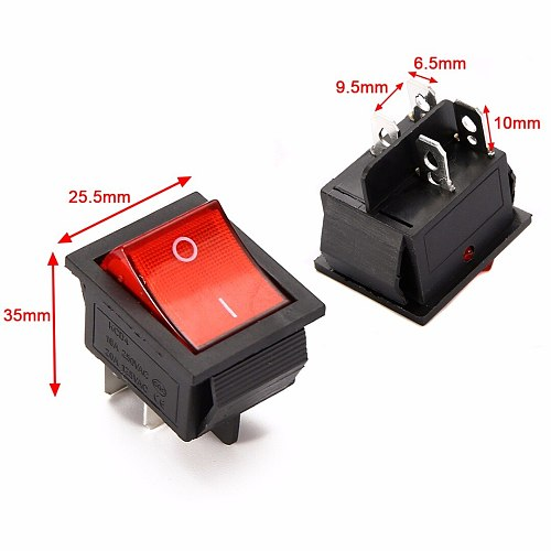 5pcs 2 Position Red Light Rocker Switch 16A/250V KCD4-20 4 Pin ON/OFF Toggle Switches 35 x 25.5 x 10mm