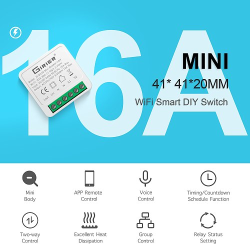 16A Mini Smart Wifi DIY Switch Supports 2 Way Control, Smart Home Universal Module, Works with Alexa Google Home Smart Life App