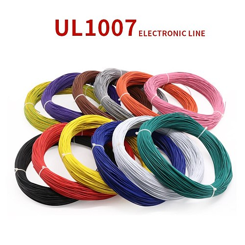 2M 24AWG UL1007 PVC Wire OD 1.4mm Insulated OFC Tinned Copper Electron Conductor Cable Lamp Environmental DIY Line Colorful 300V