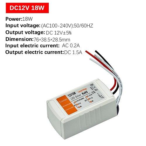 1pcs DC12V Power Supply Led Driver 18W / 28W / 48W / 72W / 100W Adapter Lighting Transformer Switch for LED Strip Ceiling Light