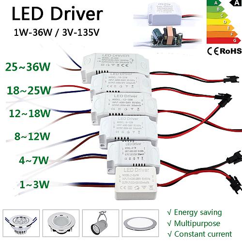 LED Driver 300mA Transformer Constant Current Power Supply Unit AC85-265V 110V 220V to DC 12V 24V 1W 3W 5W 10W 18W 20W 25W 36W