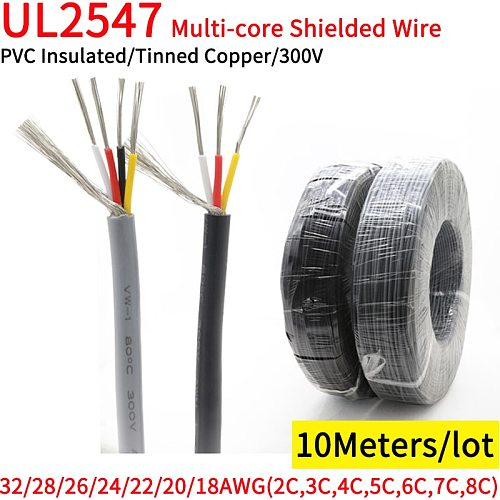 10M 30 28 26 24 22 20 18 AWG UL2547 Shielded Wire Channel Audio 2 3 4 5 6 7 8 Cores Headphone Control Copper Signal Cable