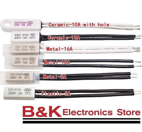 KSD9700 10C-240C Thermostat  45C 50C 85C 90C 95C 150C Bimetal Disc Temperature Switch N/O Thermal Protector degree centigrade