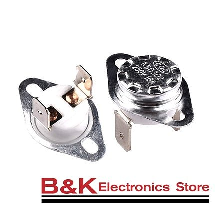 KSD302 16A 250V 40-130 degree Ceramic KSD301 Normally Closed Temperature Switch Thermostat 45 55 60 65 70 75 80 85