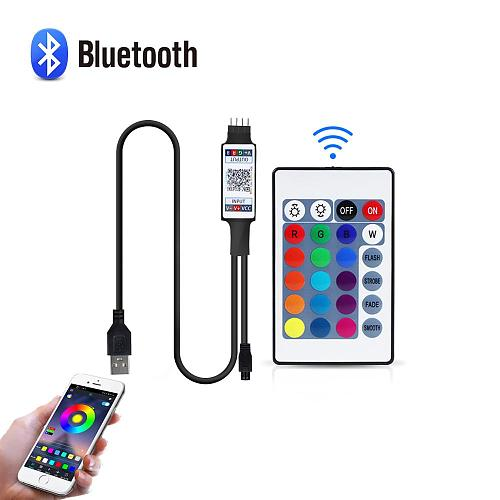 5V USB Powered RGB Bluetooth controller 4 pin LED Controller With 24-button IR remote control For 2835 5050 RGB LED strip light