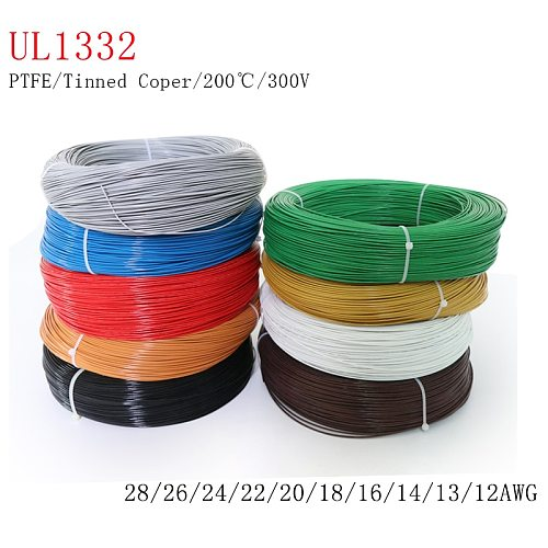 1M/2M 28/26/24/22/20/18/16/14/13/12 AWG UL1332 PTFE Wire FEP Plastic Insulated High Temperature Electron Cable 300V