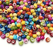 30pcs/lot 10mm Big Hole Round Beads for Jewelry Making Acrylic Beads Multicolor Loose Bead Jewelry DIY Accessory