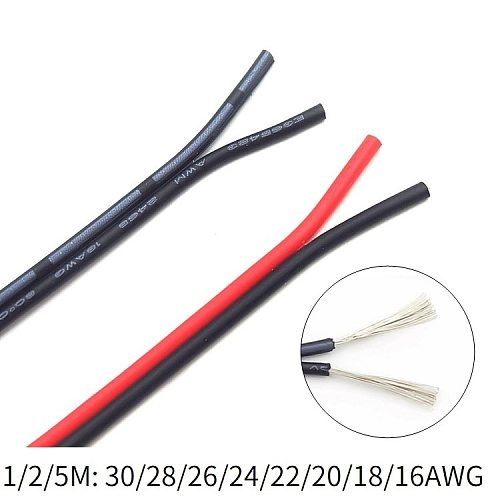 Copper Wire Cable 2 pins 16 18 20 22 24 26 28 30 AWG Black Red White PVC Insulation Electrical Lighting LED Line Extension Cord