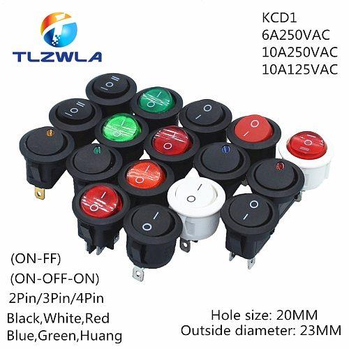 1pcs ON/OFF Round Rocker Switch LED illuminated Car Dashboard Dash Boat Van 12V 24V / 6A 250V / 10A 125V 2/3/4PIN Switch 20MM