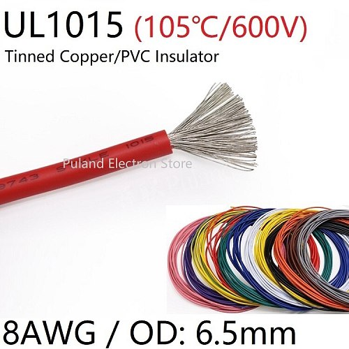 8AWG UL1015 PVC Wire OD 6.5mm Insulated OFC Tinned Copper Electron Conductor Cable Lamp Environmental DIY Line Colorful 600V
